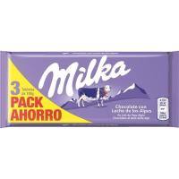 Chocolate con leche MILKA, pack 3x100 g