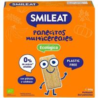 Panecitos cereal plátano-calabaza ecológicos SMILEAT, caja 60 g