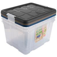 Caja de plástico, cierre Eco-Friendly, 25litros, 420x350x360mm HEGA, set de 3 uds.