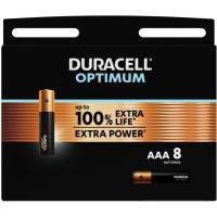Pila alcalina optimum  LR03 (AAA) DURACELL , pack de 8 uds