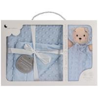 Manta de bebé azul, tacto extrasuave, 80X110cm + Doudou León  INTERBABY, 1 ud