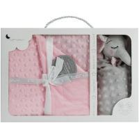 Manta de bebé rosa, tacto extrasuave, 80x110cm + Doudou Elefante INTERBABY, 1 ud