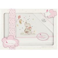 Sábanas de cuna Elefante rosa, 60x120 cm, 3 piezas, 100% algodón INTERBABY, 1 ud
