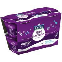 Griego natural azucarado KAIKU SIN LACTOSA, pack 4x90 g