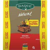 Café molido natural BAQUÉ, pack 2x250 g