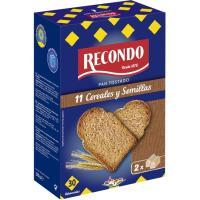 Pan tostado 10 cereales RECONDO, 30 rebanadas, paquete 270 g