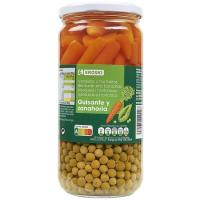 Guisante-zanahoria EROSKI, frasco 425 g