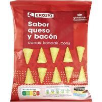 Conos de maíz queso-bacón EROSKI, bolsa 85 g