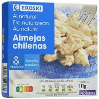 Almeja chilena al natural 15/22 piezas EROSKI, lata 63 g