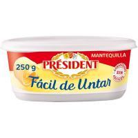 Mantequilla fácil de untar sin sal PRESIDENT, tarrina 250 g