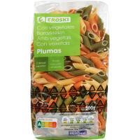 Plumas con vegetales EROSKI, paquete 500 g