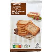 Pan tostado integral EROSKI, 30 rebanadas, paquete 270 g
