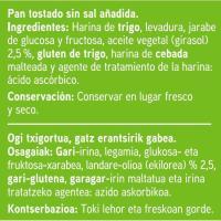 Pan tostado bajo en sal EROSKI, 30 rebanadas, paquete 270 g