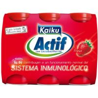 Yogur Actif de fresa KAIKU, pack 6x70 ml