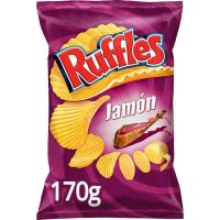 Patatas onduladas sabor jamón RUFFLES, bolsa 170 g