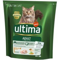 Alimento de pollo-arroz para gato adulto ULTIMA, paquete 800 g