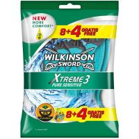 Máquinilla desechable WILKINSON Xtreme 3, pack 8+4 uds.