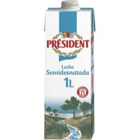 Leche semidesnatada PRESIDENT, brik 1 litro