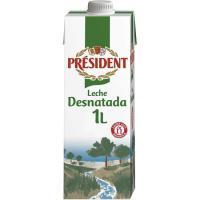 Leche desnatada PRESIDENT, brik 1 litro