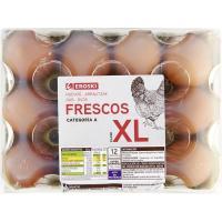 Huevo fresco XL EROSKI, cartón 12 unid.