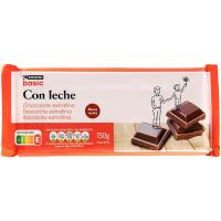 Chocolate con leche extrafino EROSKI basic, tableta 150 g