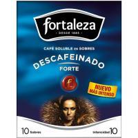 Café soluble descafeinado FORTALEZA, caja 10 sobres