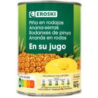 Piña en rodajas en su jugo EROSKI, lata 340 g