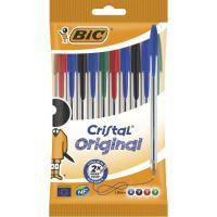 Bolígrafo colores: 4 azul, 2negro, 2rojo, 2verde, punta 1.0mm Cristal BIC, 10uds