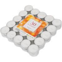 Tealights blanco ROURA, 4x4x5,1cm, 50uds