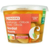 Aceitunas gordal picante EROSKI, tarrina 300 g