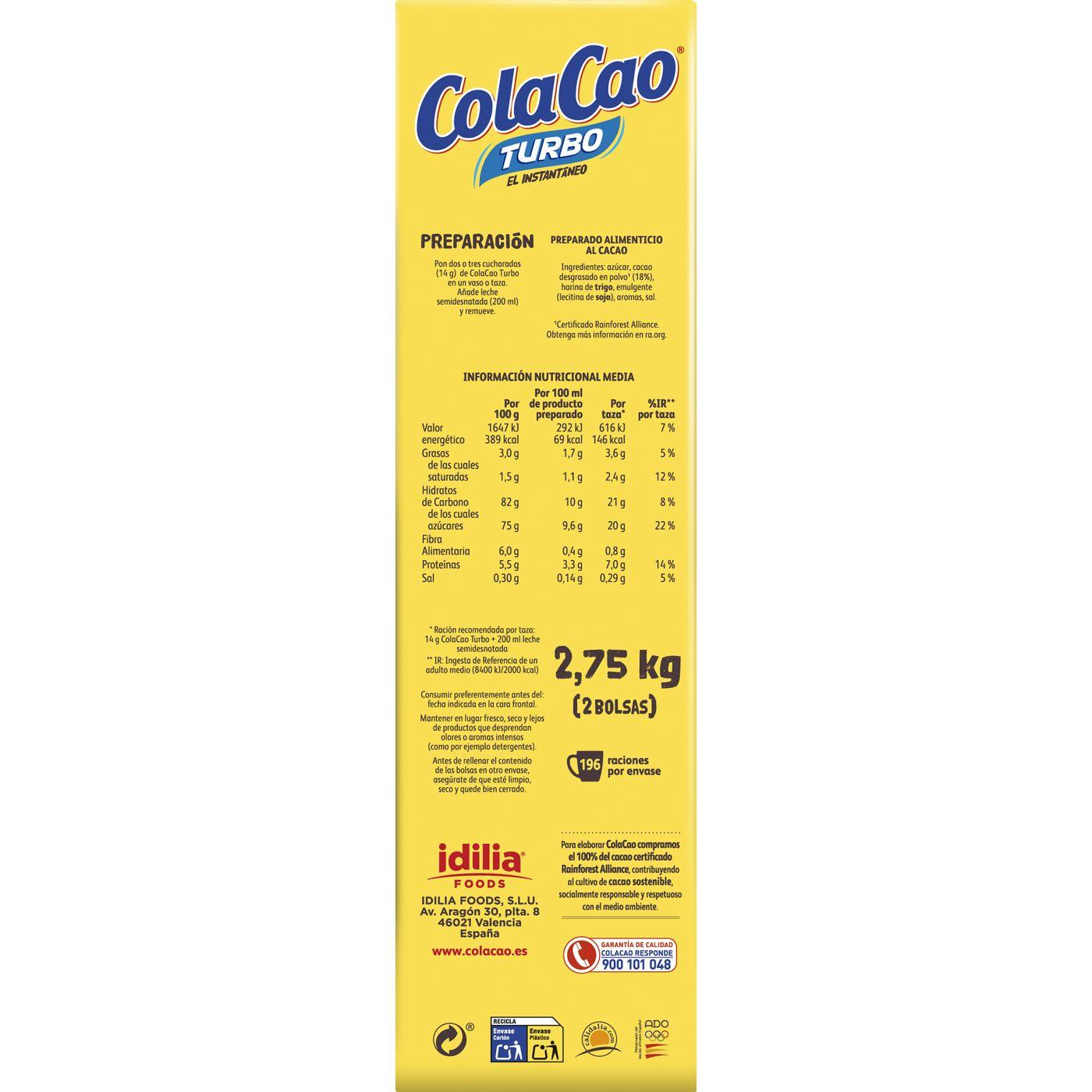 Cacao soluble COLACAO Turbo, maleta 2,750 kg