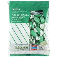 Caramelo sin azúcar de menta EROSKI, bolsa 90 g