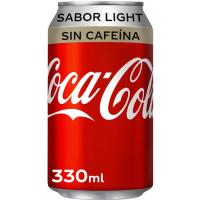 Refresco de cola light sin cafeína COCA COLA, lata 33 cl
