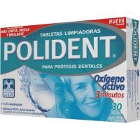 Tableta especial dentaduras postizas POLIDENT, caja 30 unid.