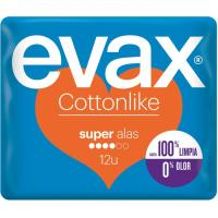Compresa super con alas EVAX Cottonlike, paquete 12 unid.