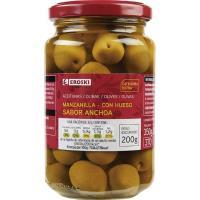 Aceitunas verdes sabor anchoa EROSKI, frasco 200 g