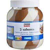 Crema de cacao 2 sabores EROSKI basic, bote 750 g