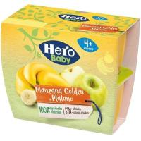 Postre de manzana-plátano HERO, pack 4x100 g