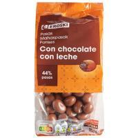 Pasas sultanas con chocolate con leche EROSKI, bolsa 150 g