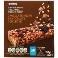 Barrita de cereales-chocolate EROSKI, 6 uds., caja 150 g