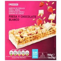 Barritas de cereales-fresa-choco EROSKI, 6 unid., caja 150 g