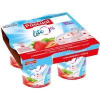 Yogur desnatado pasteurizado con fresa PASCUAL, pack 4x125 g