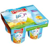 Yogur desnatado pasteurizado con macedonía PASCUAL, pack 4x125 g