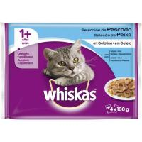 Alimento de pescado con gelatina para gato WHISKAS, pack 4x100 g