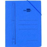 Carpeta cartón azul folio, 3 solapas interiores, con gomas LIDERPAPEL