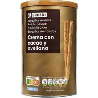 Barquillos rellenos de chocolate EROSKI, lata 200 g