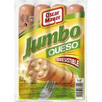 Salchichas Jumbo de queso OSCAR MAYER, sobre 350 g