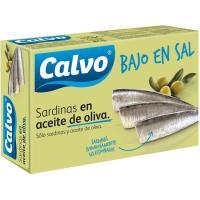 Sardinas en aceite de oliva bajo en sal CALVO, lata 115 g