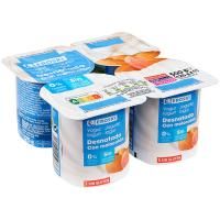 Yogur desnatado con melocotón EROSKI, pack 4x125 g