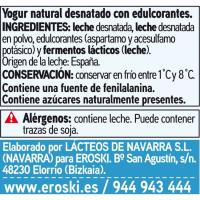 Yogur desnatado natural edulcorado EROSKI basic, pack 4x125 g
